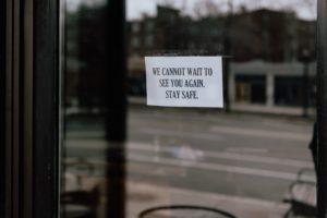 Coronavirus Pandemic sign - Businesses welcoming customers back